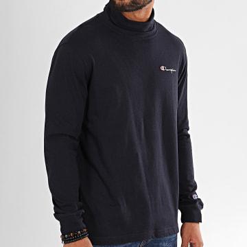Tee Shirt Manches Longues A Col Roulé 213610 Bleu Marine