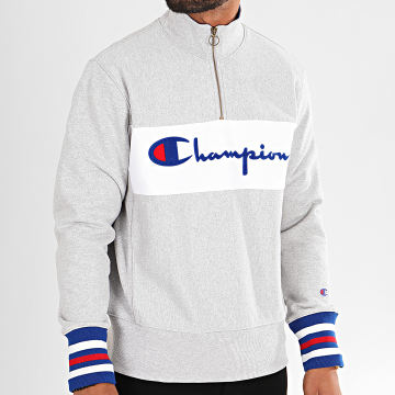 Champion - Sweat Col Zippé Big Script 213716 Gris Chiné