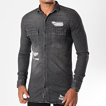 Chemise Jean Manches Longues PB015 Gris Anthracite