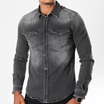 Chemise Jean Manches Longues TR2047 Gris Anthracite