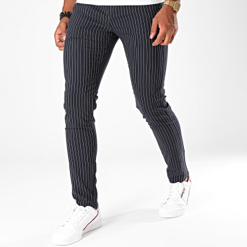 MTX - Pantalon A Rayures DJ521 Bleu Marine