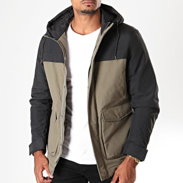 Selected - Veste Zippée Capuche Color Block Vert Kaki Noir
