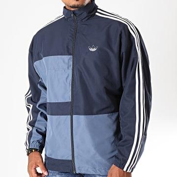 Adidas Originals - Veste Zippée A Bandes ASYMM ED6243 Bleu Marine Bleu Clair Blanc