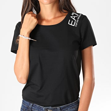 Tee Shirt Femme Pailleté 6GTT12-TJ29Z Noir Blanc