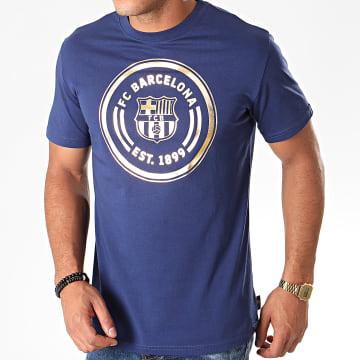 Tee Shirt De Sport Big Logo FC Barcelona B19003 Bleu Marine Doré