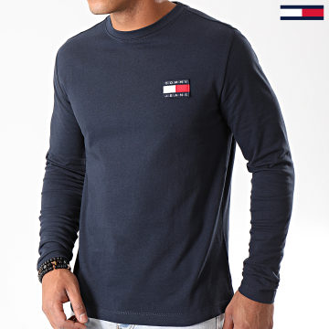 Tommy Jeans - Tee Shirt Manches Longues Badge 6958 Bleu Marine