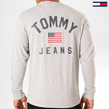 Tommy Jeans - Tee Shirt Manches Longues US Flag 7066 Gris Chiné