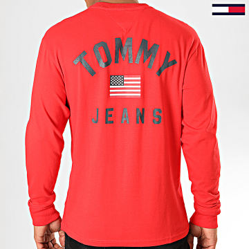 Tommy Jeans - Tee Shirt Manches Longues US Flag 7066 Rouge