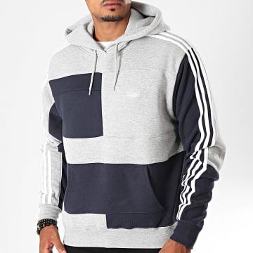 Adidas Originals - Sweat Capuche A Bandes ASYMM Block ED5606 Gris Chiné Bleu Marine Foncé