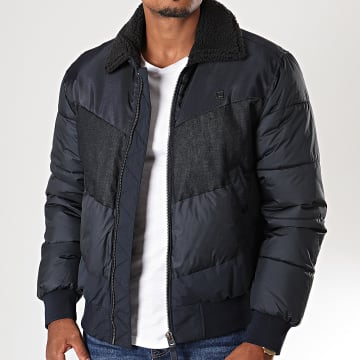 G-Star - Blouson Col Mouton Ore Denim Mix D14007-A793 Bleu Marine