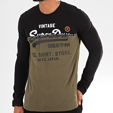 Tee Shirt Manches Longues Shop Split Panel M6000016A Noir Vert Kaki