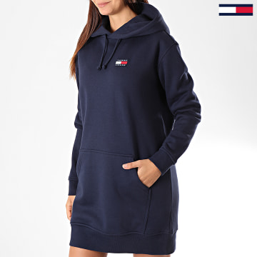 Robe Sweat Capuche Femme Tommy Badge 7234 Bleu Marine