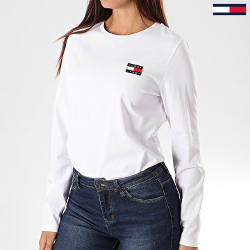 Tee Shirt Femme Manches Longues Tommy Badge 7433 Blanc