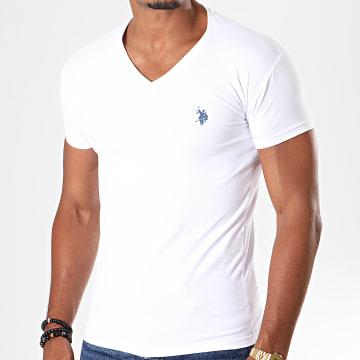 US Polo ASSN - Tee Shirt Double Horse V Neck Blanc
