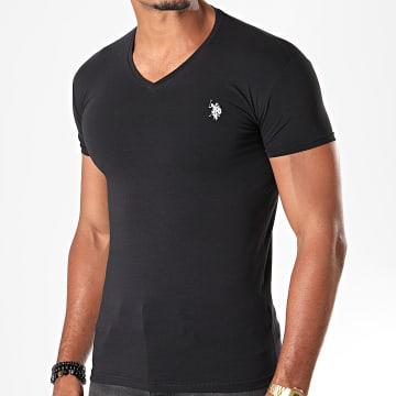 Tee Shirt Double Horse V Neck Noir