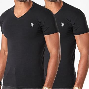 Lot De 2 Tee Shirts Col V Double Horse V Neck Noir