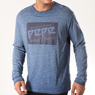 Pepe Jeans - Tee Shirt Manches Longues Jacob 506771 Bleu Marine Chiné