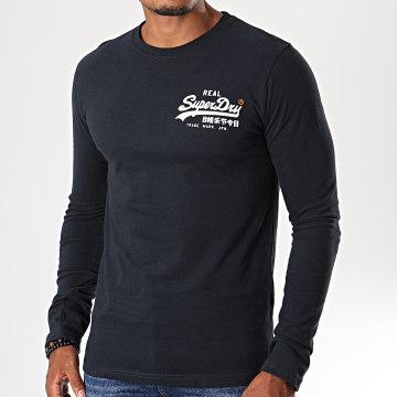 Superdry - Tee Shirt Manches Longues Vintage Logo Linear M6000021A Bleu Marine