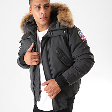 Blouson Fourrure Poche Bomber Anchorage Gris Anthracite