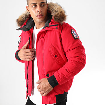 Blouson Fourrure Poche Bomber Anchorage Rouge