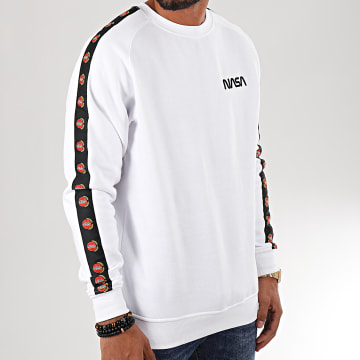 Sweat Crewneck A Bandes MT863 Blanc Noir