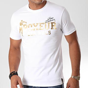 Boxeur Des Rues - Tee Shirt Slim 02ESY Blanc Doré