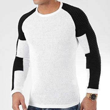 Pull Avec Empiecement Blanc JUM-24 Blanc