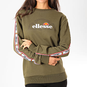 Ellesse - Sweat Crewneck Femme A Bandes Bodrum SGC07474 Vert Kaki