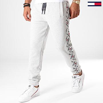 Pantalon Jogging A Bandes Corp Logo Print 7197 Gris Chiné Bleu Marine
