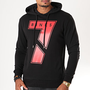 7 Binks - Sweat Capuche Seven Noir Rouge