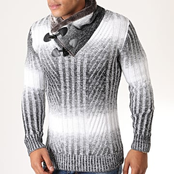 Pull Col Amplified Fourrure Present Gris Chiné Blanc
