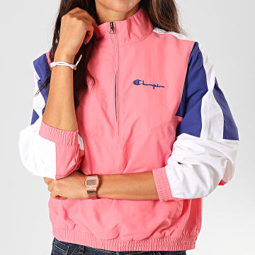 Champion - Sweat Col Zippé Femme 112290 Rose Bleu Blanc