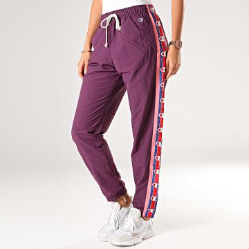Champion - Pantalon Jogging Femme A Bandes 112291 Violet Rose