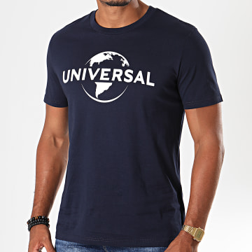 Universal Studio - Tee Shirt Universal Logo Mono 2019 Bleu Marine Blanc