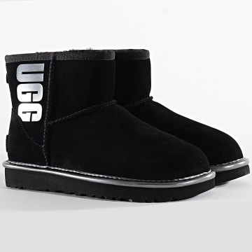 Bottines Femme Classic Mini UGG Rubber Logo 1110087 Black Metallic