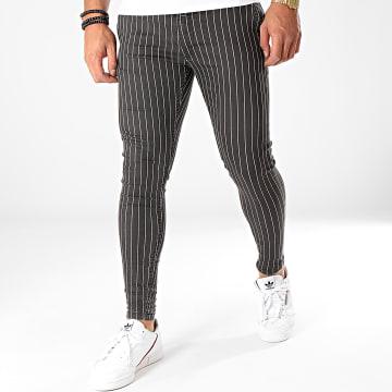 GRJ Denim - Pantalon Chino A Rayures 13997 Noir Blanc