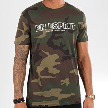 Tee Shirt En Esprit Camouflage Vert Kaki