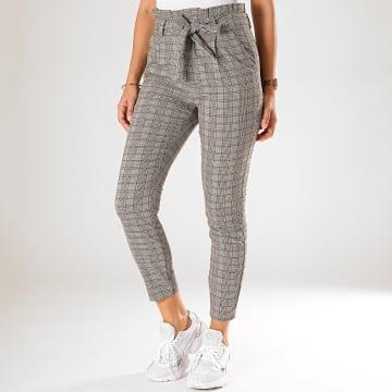 Vero Moda - Pantalon A Carreaux Femme Eva Paperbag Beige Gris Marron