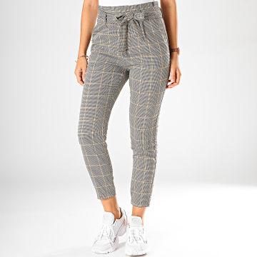 Pantalon A Carreaux Femme Eva Paperbag Blanc Noir Jaune