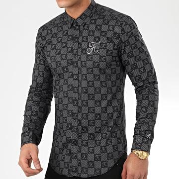 Chemise Premium Avec Damier et Broderie 279 Noir