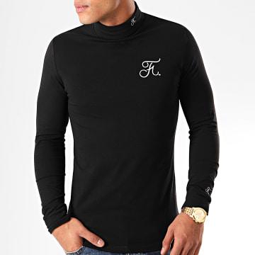 Tee Shirt Col Roulé Manches Longues Premium Fit Avec Broderie 301 Noir