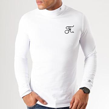 Tee Shirt Col Roulé Manches Longues Premium Fit Avec Broderie 302 Blanc