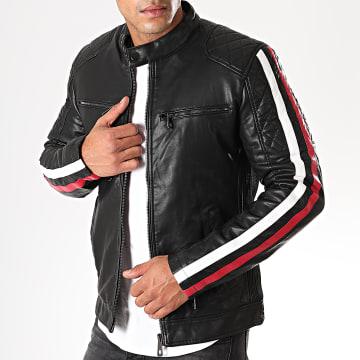 Veste Biker A Bandes 929 Noir Blanc Rouge