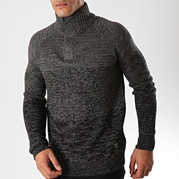 MZ72 - Pull Col Montant Soggy Gris Anthracite Noir Chiné