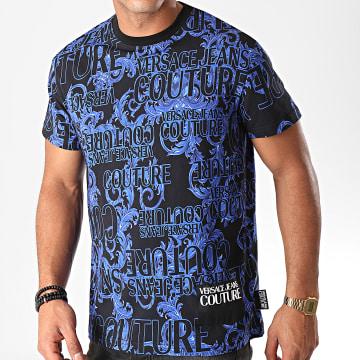 Versace Jeans Couture - Tee Shirt Renaissance Floral Print B3GUB7S1 Noir Bleu Roi