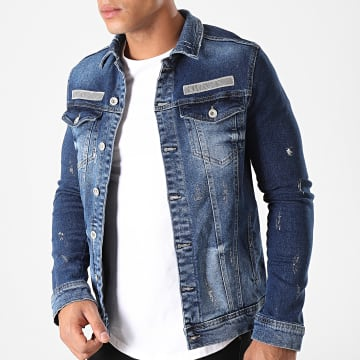 Black Needle - Veste Jean Destroy 2817 Bleu Denim Argenté