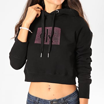 Calvin Klein - Sweat Capuche Femme Crop Distressed Monogram 2247 Noir Violet