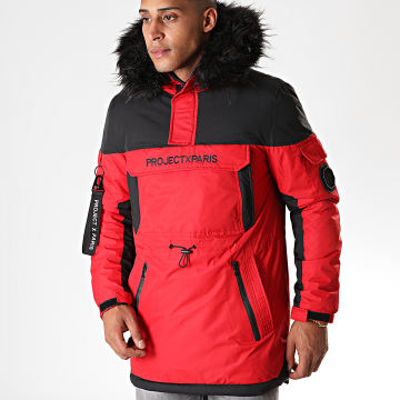 Project X - Parka Demi Zip Capuche Fourrure 1950005 Rouge Noir