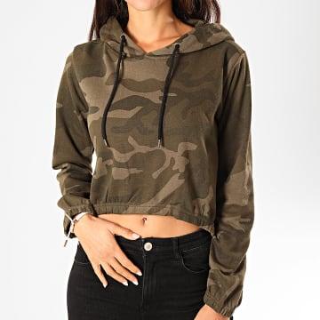Urban Classics - Sweat Capuche Crop Femme TB1636 Vert Kaki Camouflage