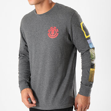 Element - Tee Shirt Manches Longues Stockade Gris Anthracite Chiné